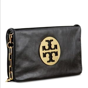 Tory Burch Reva Black Leather and Gold Clutch